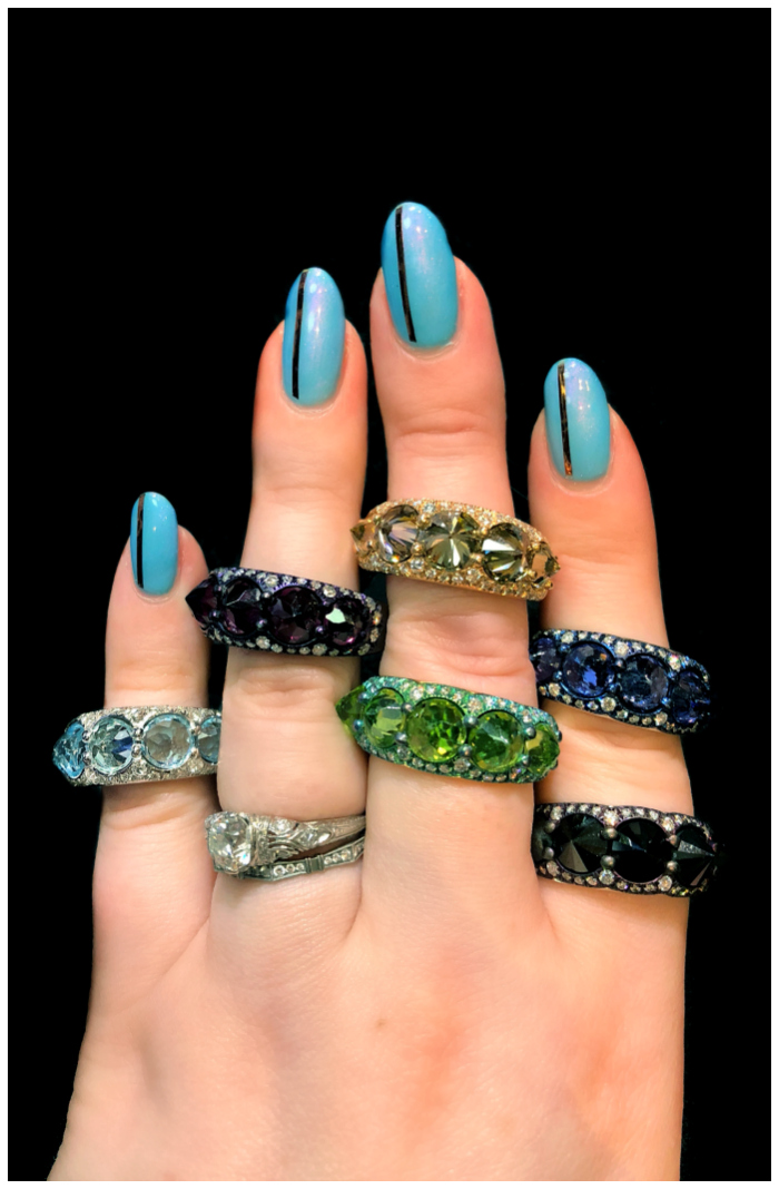 Glorious jewels by Mattioli!! I love the reverse set stones in these rings. Badass and beautiful.