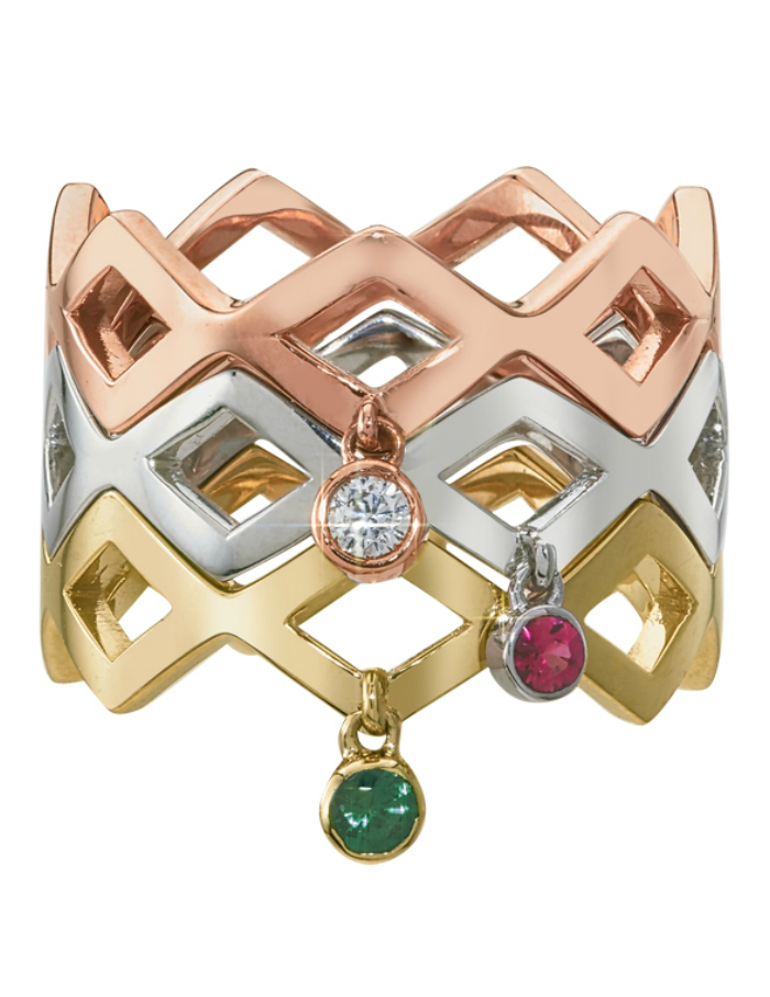 I love these GiGi Ferranti stacking rings! The little diamond and gemstone charms move as you wear them.