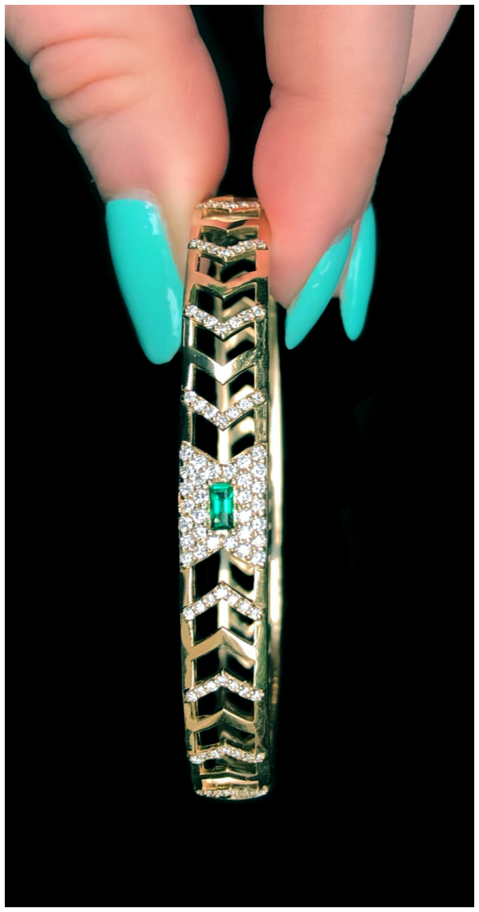 This is the glorious Gia Deco bracelet by GiGi Ferranti! With emerald and diamonds in gold.