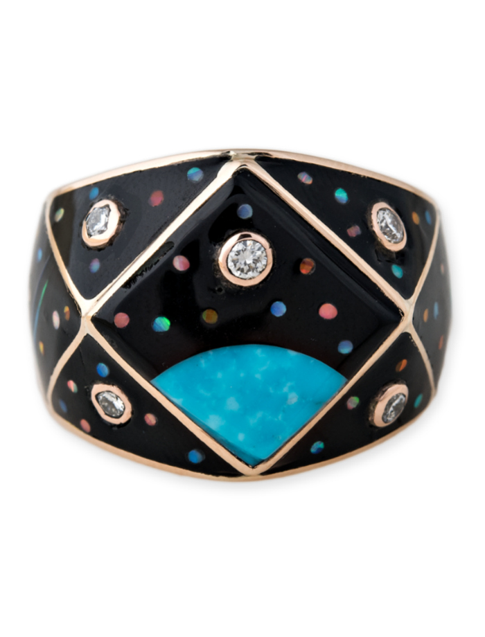 A gemstone inlay ring from Jacquie Aiche's Galaxy collection! Turquoise, opal, diamonds, and more.