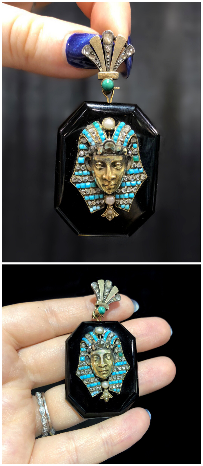 A glorious antique Egyptian Revival locket!!! With turquoise and pearls. Spotted at Maryanntiques.