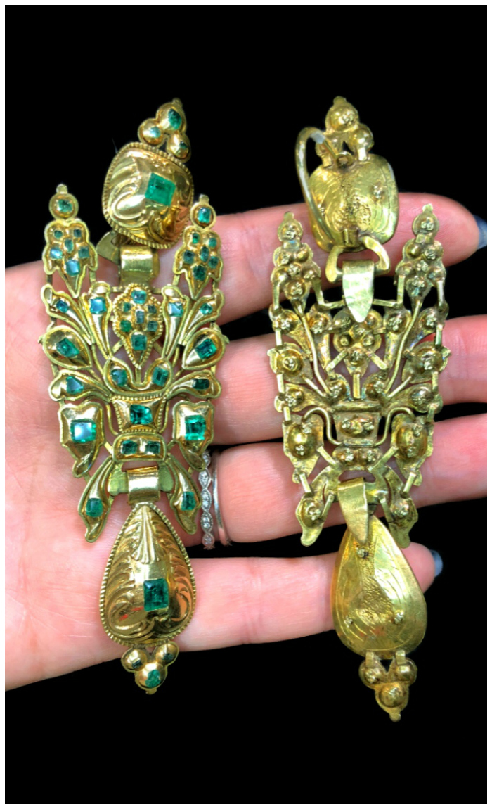 A magnificent pair of antique Iberian earrings with emeralds in gold. From Jane Fletcher.