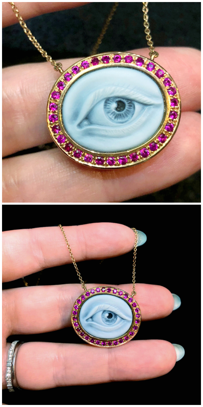 An Eye Love necklace by Anakaterina with rubies and a masterfully carved eye cameo. It's like the modern version of a Georgian Lover's Eye piece!