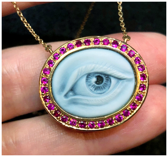 Eye Love necklace by Anakaterina with rubies and a masterfully carved eye cameo. It's like the modern version of a Georgian Lover's Eye piece!