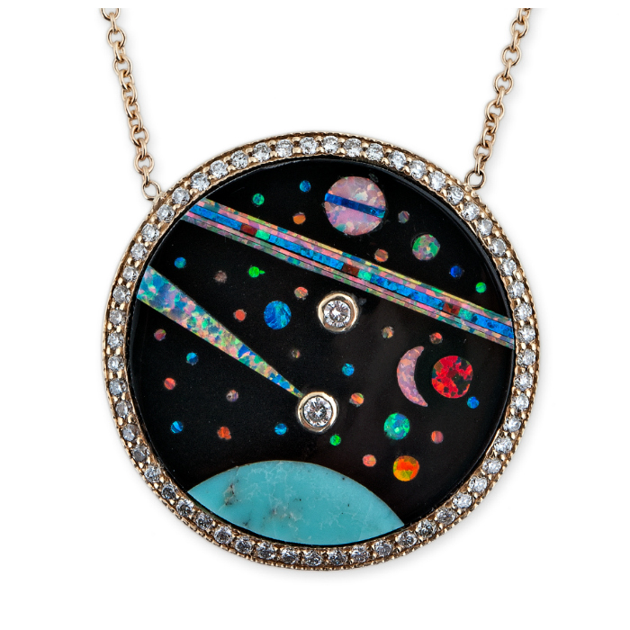 Gemstone inlay pendant from Jacquie Aiche's Galaxy collection! Turquoise, opal, diamonds, and more.