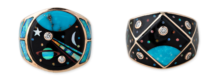 Gemstone inlay rings from Jacquie Aiche's Galaxy collection. Turquoise, opal, diamonds, and more!