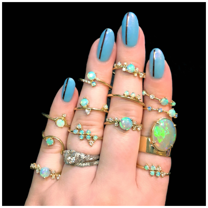I love every single one of these beautiful opal and diamond rings by Wwake!!