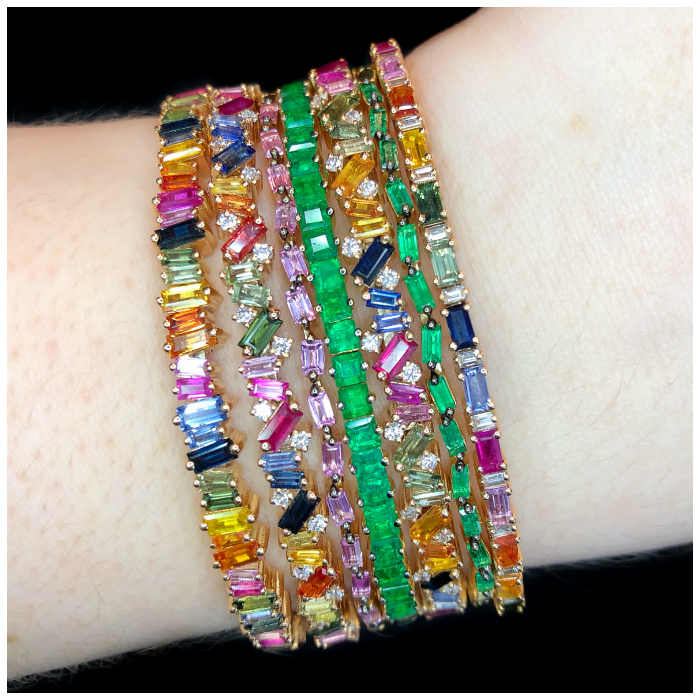 Incredible bracelets by Suzanne Kalan! Rainbow gemstones and emeralds, sprinkled with diamonds. So good.
