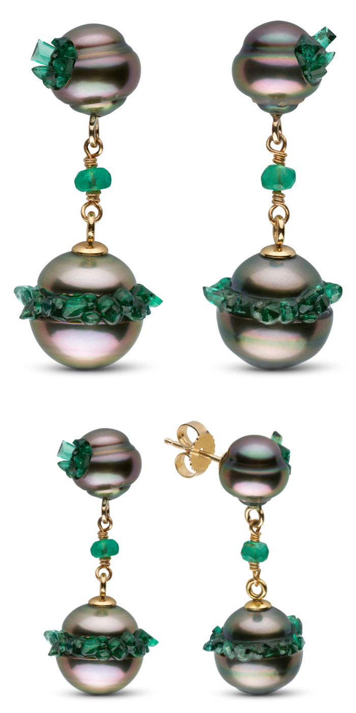 Stunning pearl earrings from the little h Spiral collection. The pearls are set with emeralds!