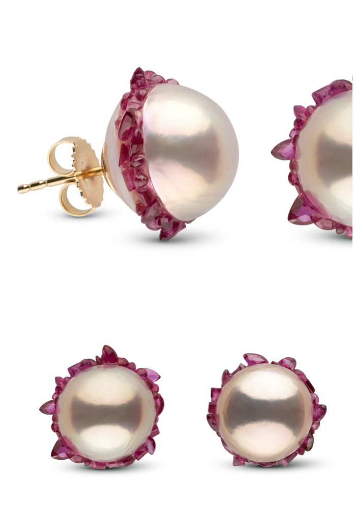 Stunning pearl stud earrings from the little h Spiral collection. The pearls are set with rubies!