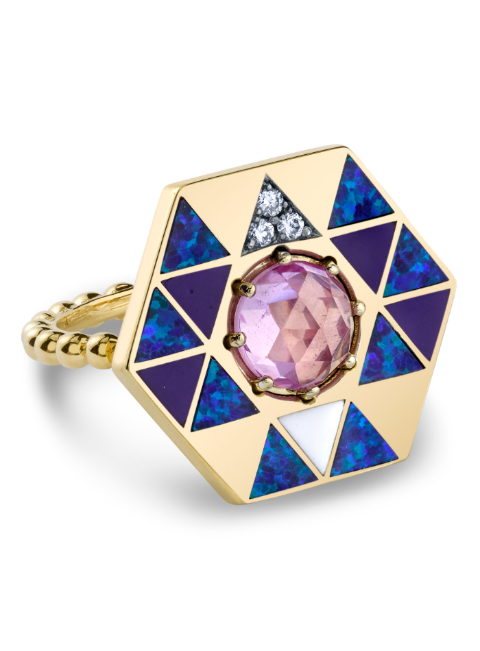 The Harwell Godfrey Vida Fire ring in 18k gold with black opal, onyx, diamonds, enamel and pink topaz.