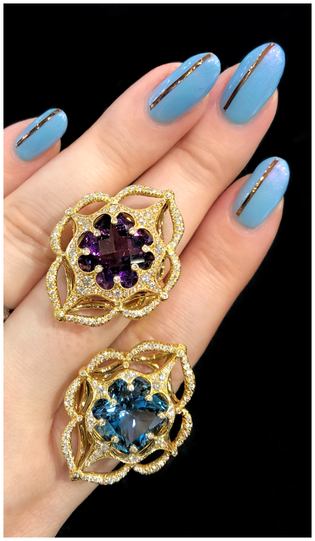Two beautiful Erica Courtney rings!! Glowing gemstones in gold and diamonds.