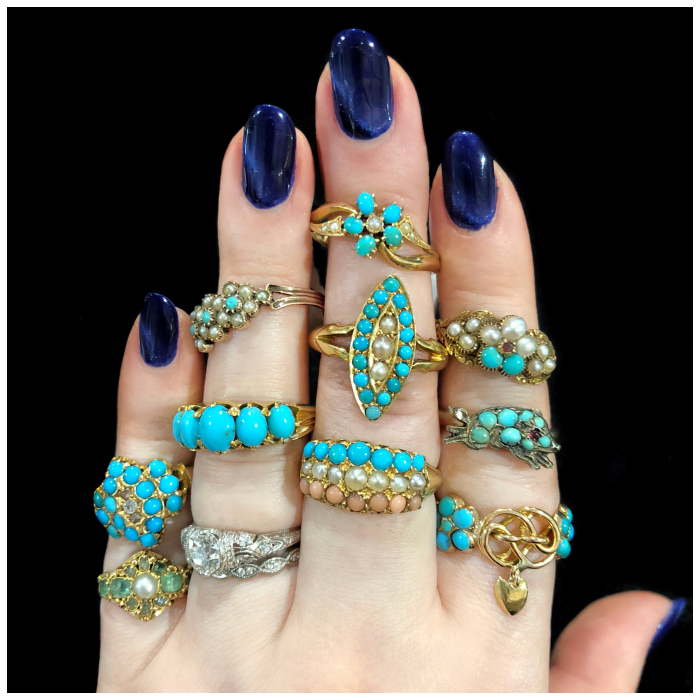 Antique rings from Lucy Verity!! Gold with turquoise, coral, pearls, and other pretty stones. Victorian and Georgian era, mostly.