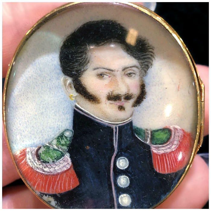 Detail view of an early Victorian ivory portrait locket from 1840. The back says 'Bernadotte.' At The Spare Room Antiques.