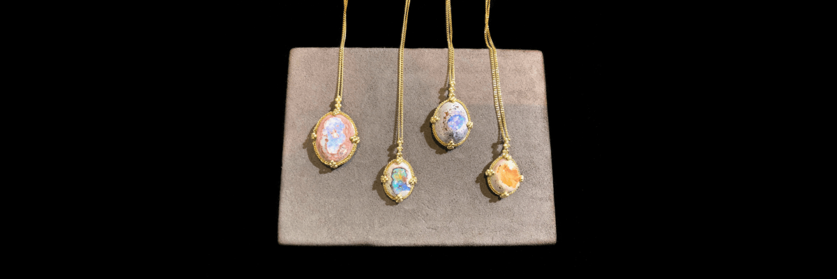 Dragon egg opals from Amali Jewelry.