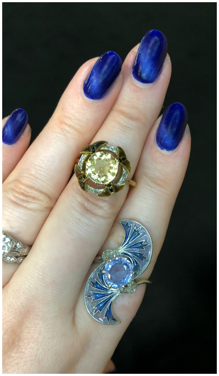 Two utterly stunning and rare Art Nouveau rings by Eugene Feuillatre, who also worked with Rene Lalique.