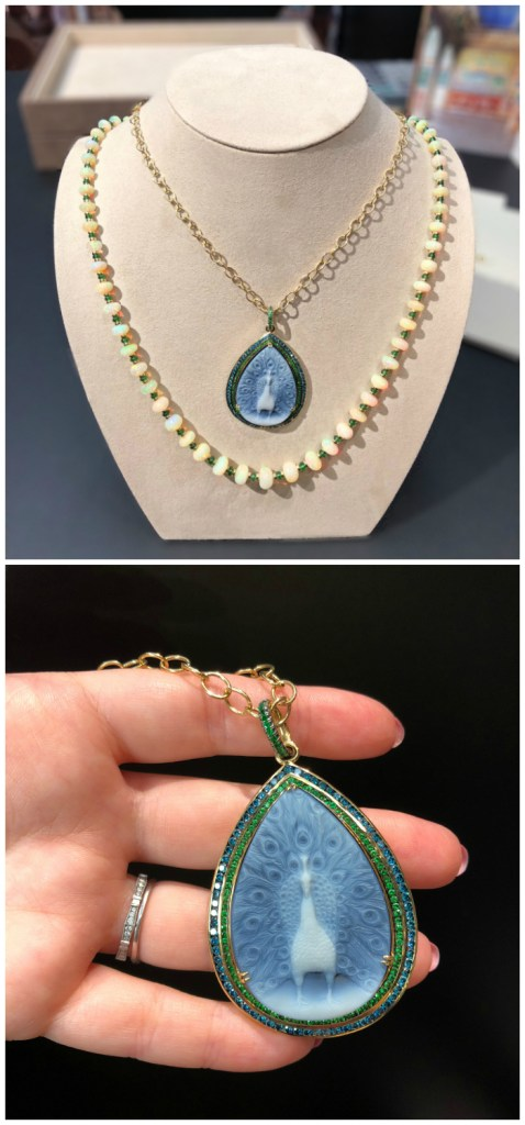 A beautiful opal bead necklace and peacock cameo pendant by Syna Jewels.