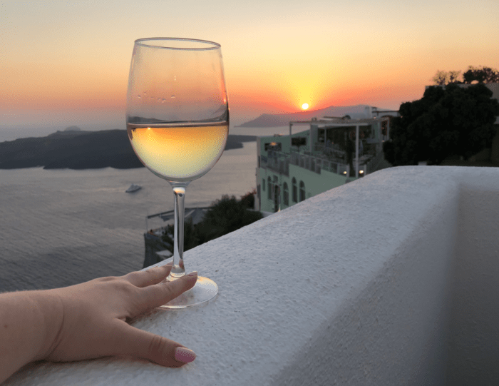 A magnificent sunset in Santorini.