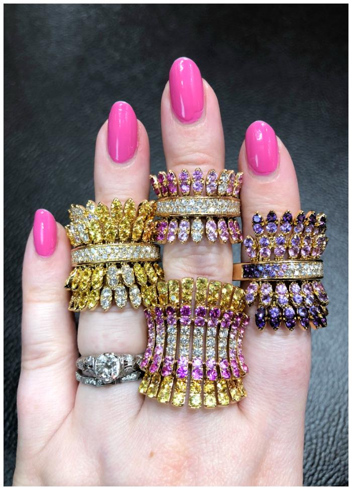 Beautiful gemstone rings by Italian jewelry brand Ferrari Firenze!! With pink and yellow sapphires.