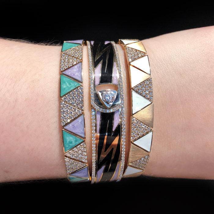 Colorful enamel and diamond bangles by Alessa Jewelry!