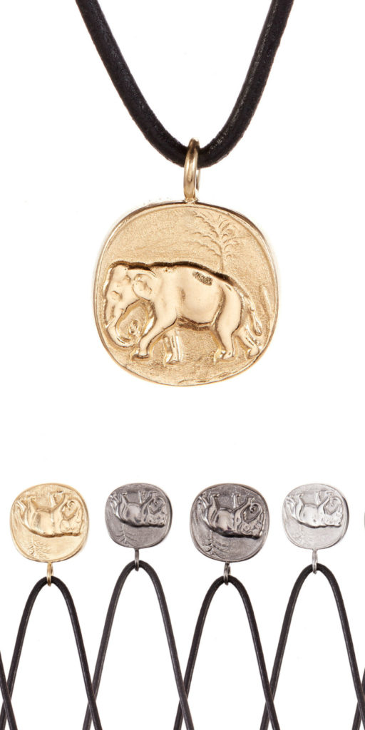 I love this elephant pendant necklace by Andrea Gutierrez! Available at The Jewelry Showcase.