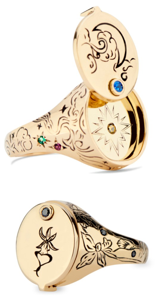 I love this signet ring by DRU Jewelry! It opens to reveal a secret symbol. In gold, with gems. From the Jewelry Showcase.