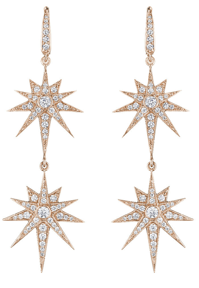 Penny Preville rose gold starburst earrings. So glam!