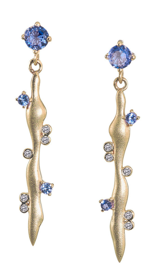 The prettiest earrings! Diamonds and colorful gems in gold. By Loriann Jewelry, from The Jewelry Showcase.