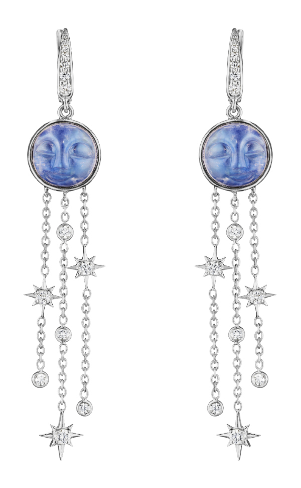 The white gold man in the moon earrings by Penny Preville! With carved moonstone and diamonds.