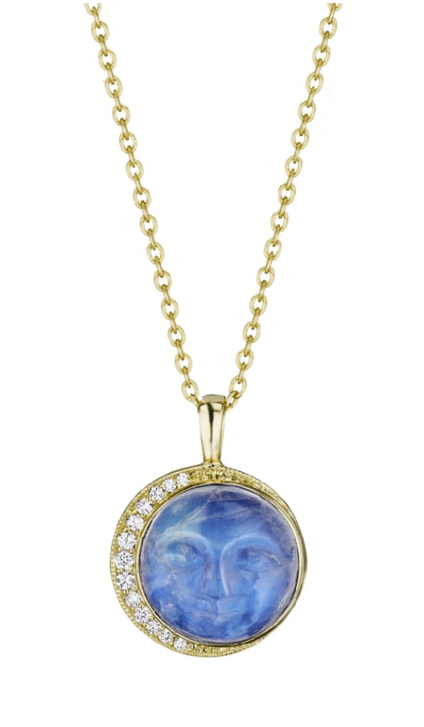 The yellow gold man in the moon necklace by Penny Preville! With carved moonstone and diamonds.