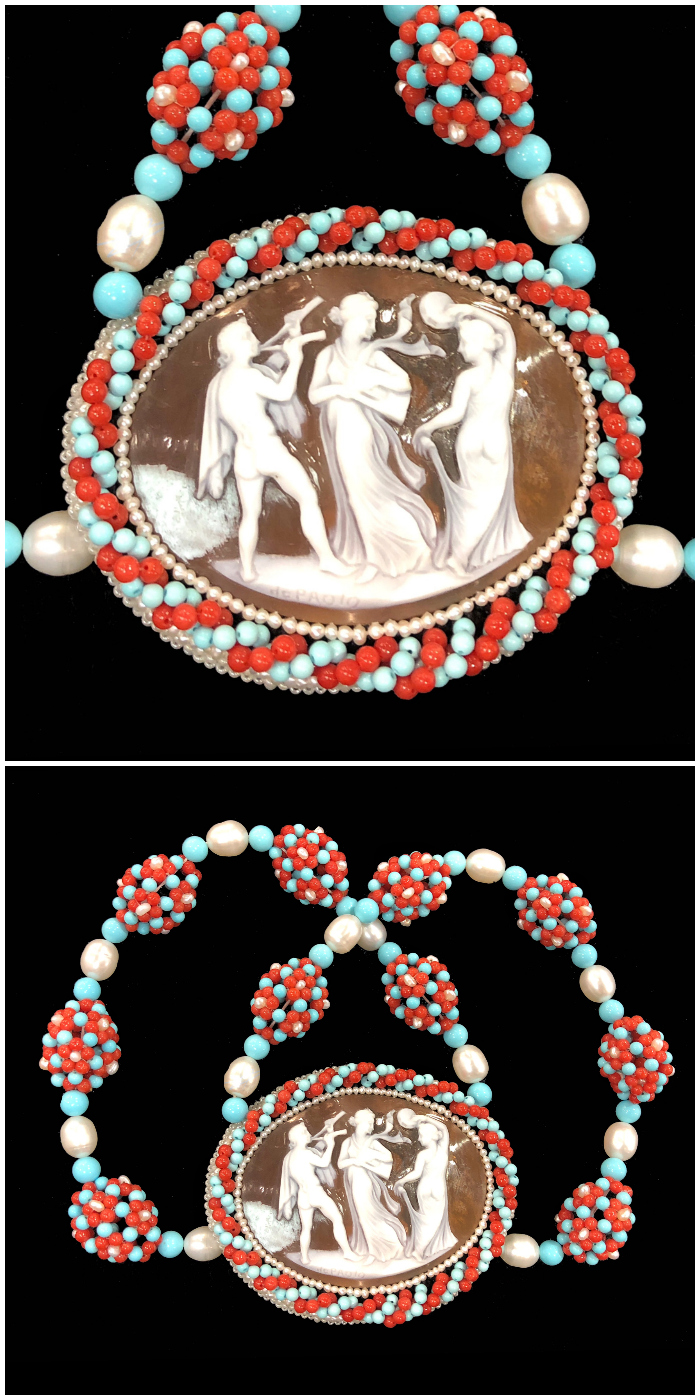 A beautiful custom necklace by Carada - a vintage cameo surrounded by coral, pearl, and turquoise beadwork.