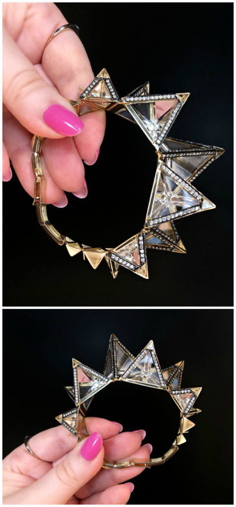 A glorious bracelet from jewelry designer Bia Tambelli's trinity collection. Diamonds, gold, rock crystal, and citrine!