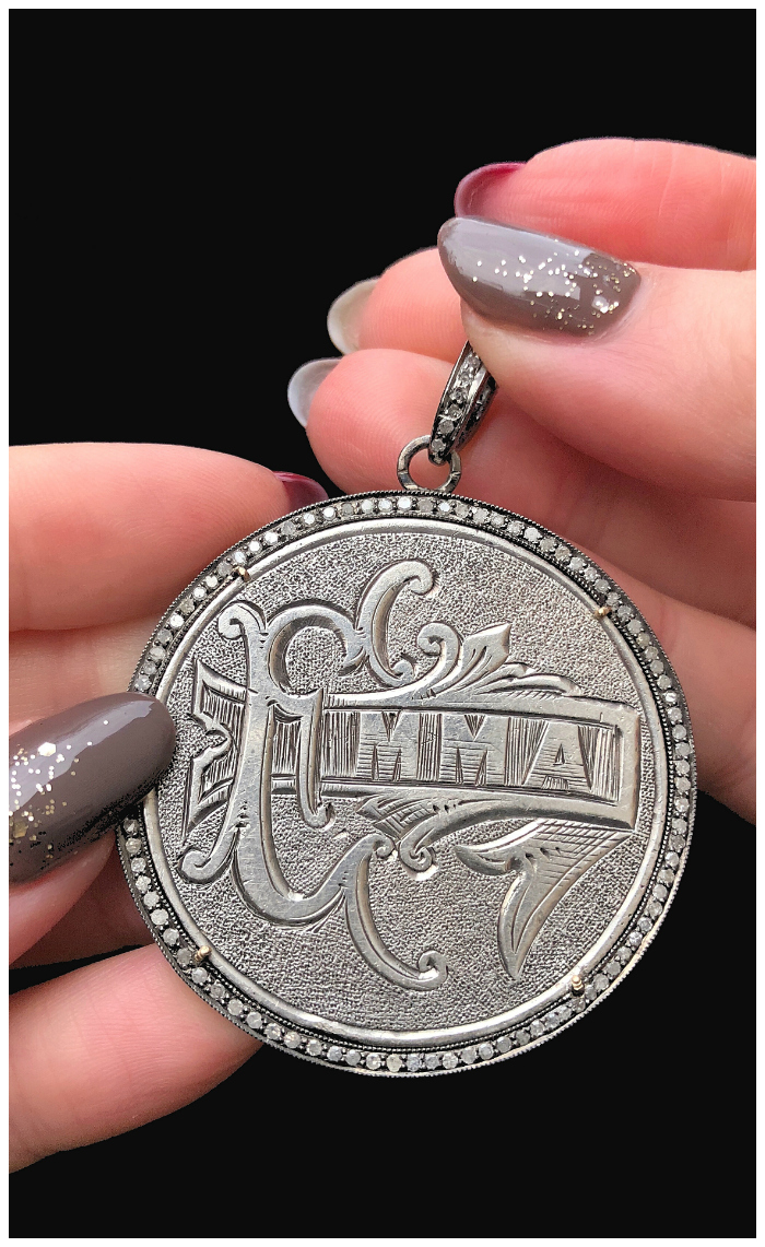 An extraordinary Victorian era love pendant token by Heavenly Vices! This one is engraved with the name 'Emma' and set with diamonds.