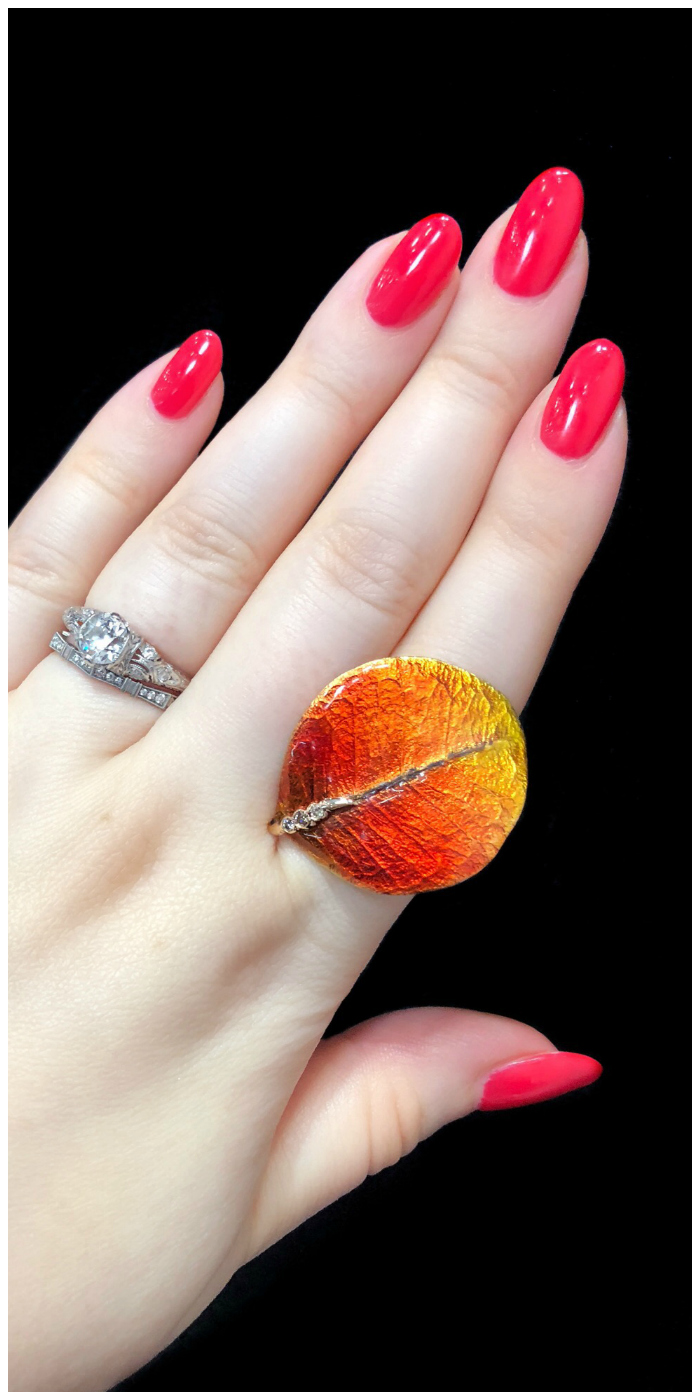 I'm falling hard for this fall leaf ring by Vendorafa! Enamel and diamonds in gold.