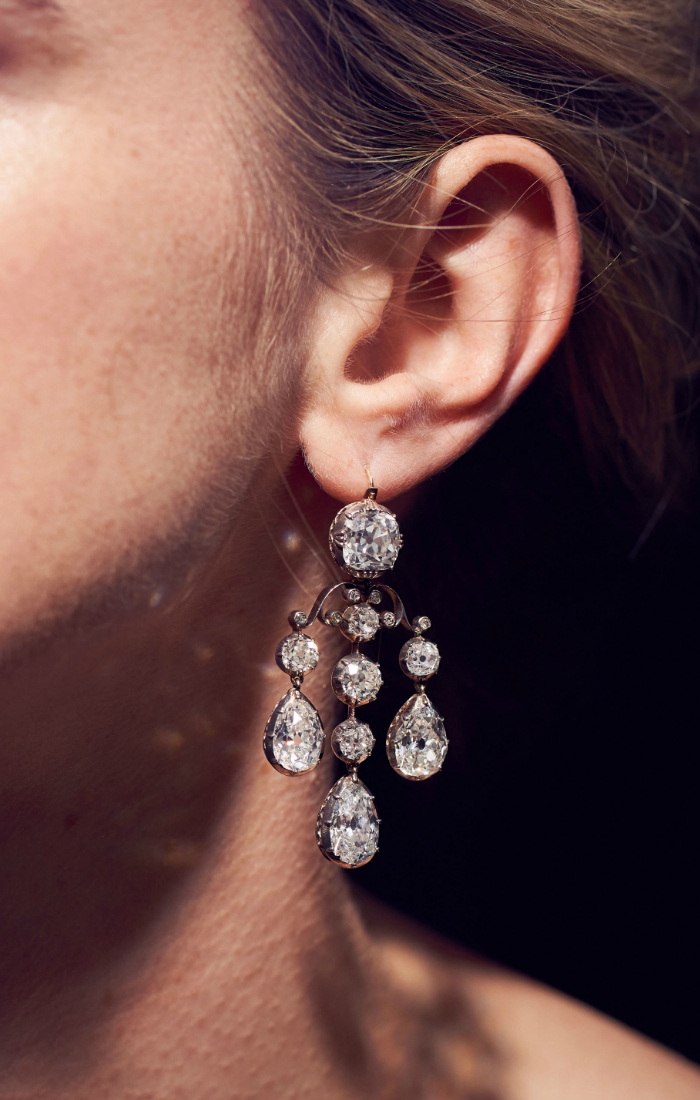 Pair of diamond pendent earrings - from the Royal Jewels from the Bourbon Parma Family - Sotheby's 14 November 2018.