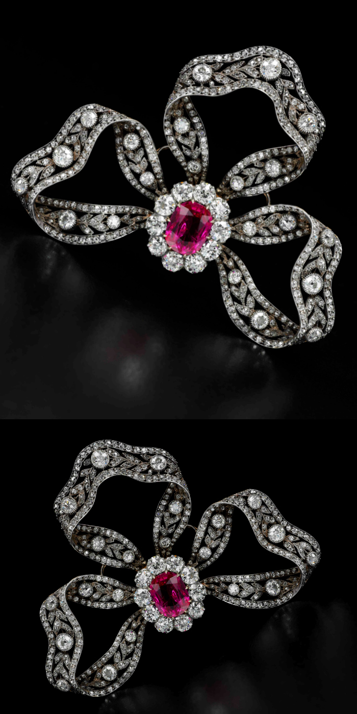 Ruby and diamond brooch-hair ornament, Bachruch, circa 1900 - Sotheby's Geneva 14 Nov 2018