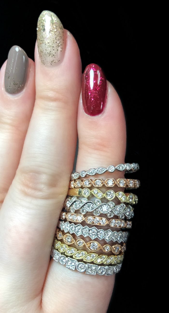 Sylvie Collection's diamond bands are perfect as wedding rings or for stacking! Enter by December 14th to WIN one for FREE.