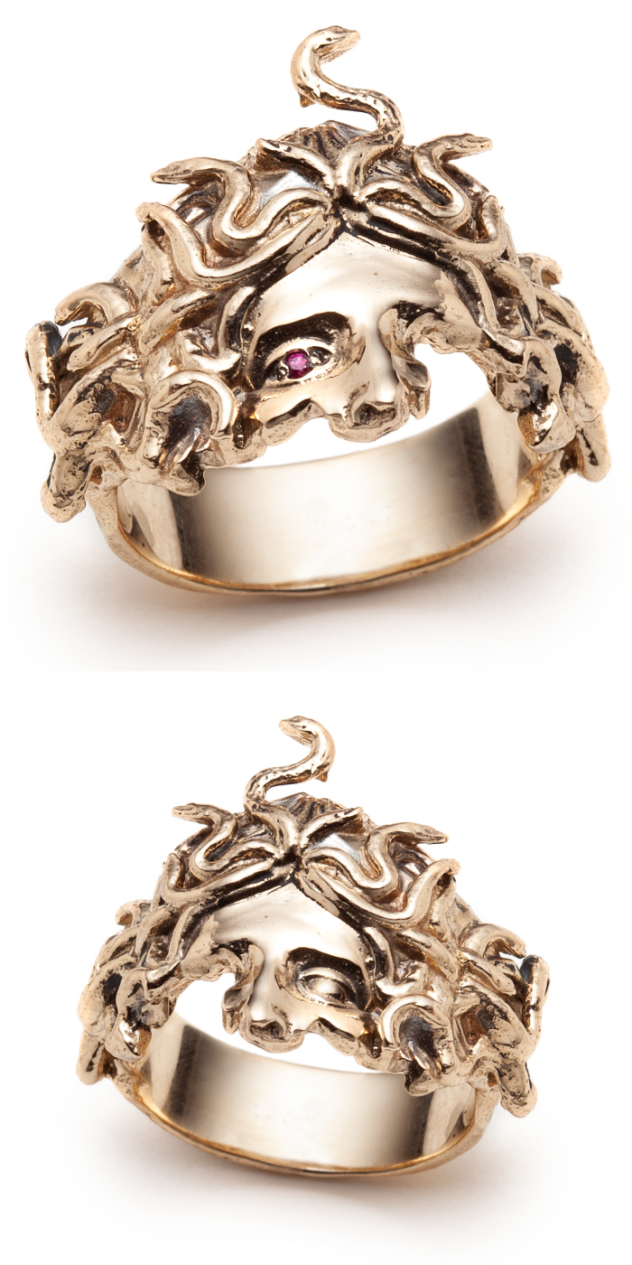 The Medusa rings by Sofia Zakia. Handmade in 14k yellow gold, with or without a ruby.