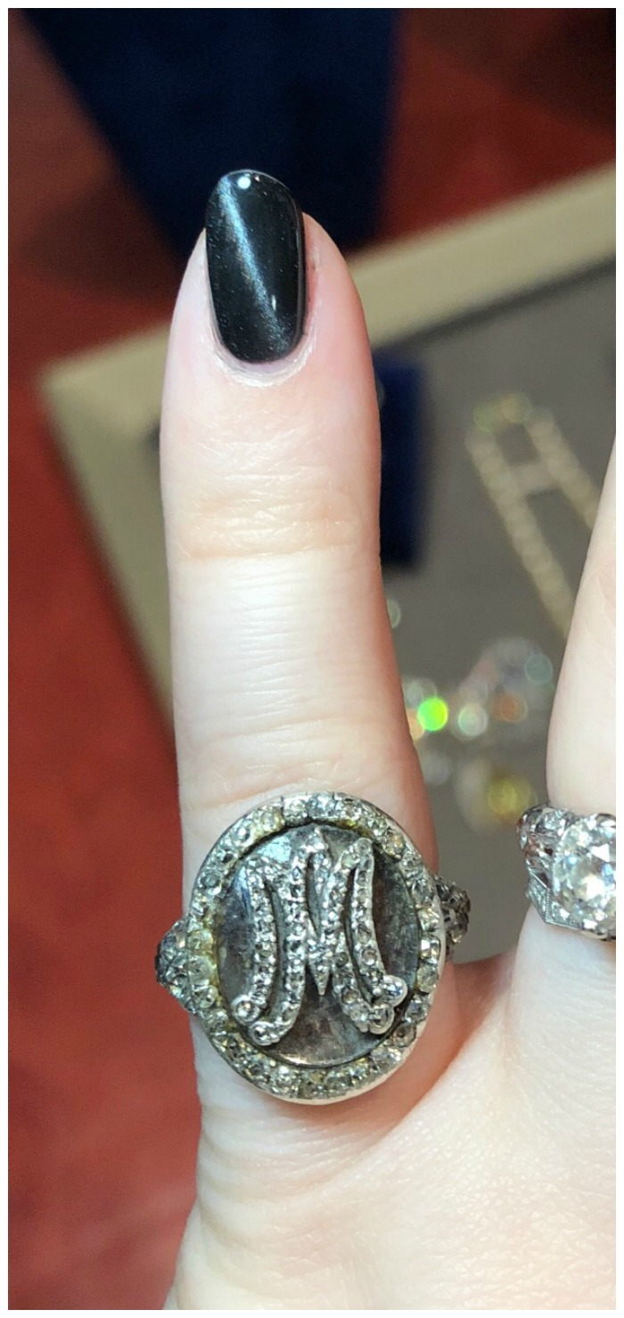 This ring was from Marie Antoinette's personal collection! It has the doomed Queen's initials in diamonds and contains a lock her hair.