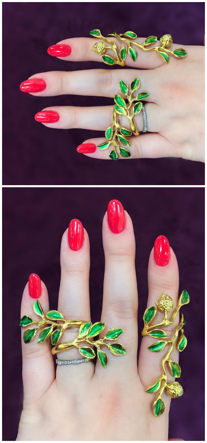Twining vine rings by Giuliana di Franco!! Inspired by the designer's hometown, Sicily.