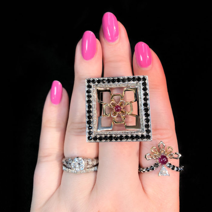 Two beautiful rings by jewelry designer Bia Tambelli! Rubies, diamonds, gold, and black diamonds.