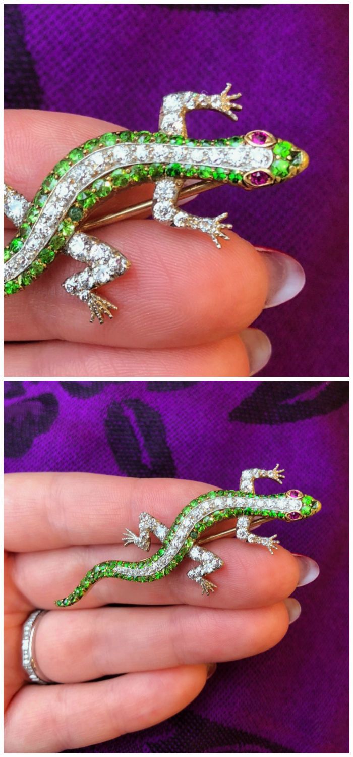 A beautiful antique demantoid garnet and diamond lizard pin from Wilson's Estate Jewelry!