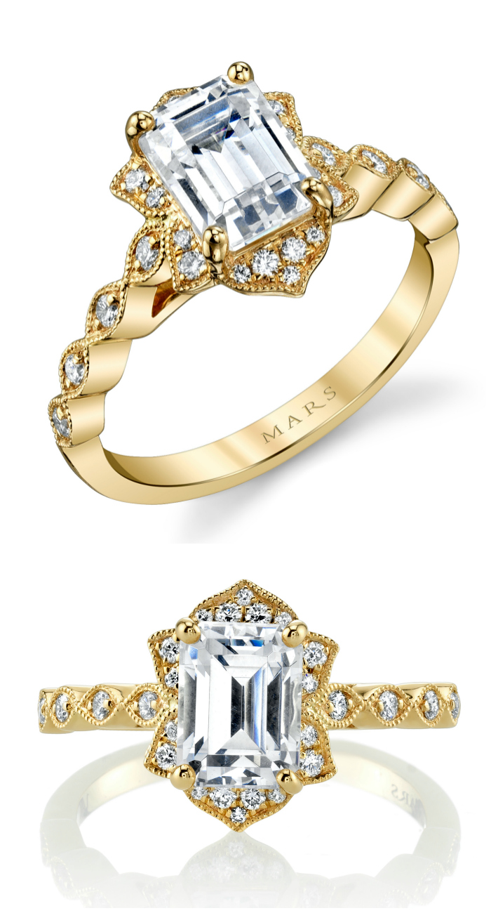 A beautiful yellow gold and diamond engagement ring by Mars.