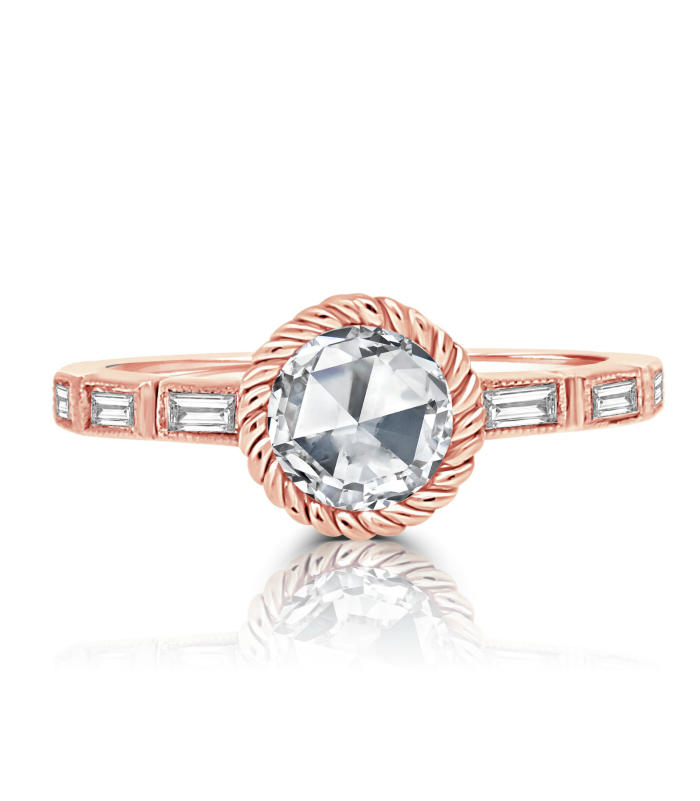 A lovely rose gold and rose cut diamond engagement ring by Vivaan.