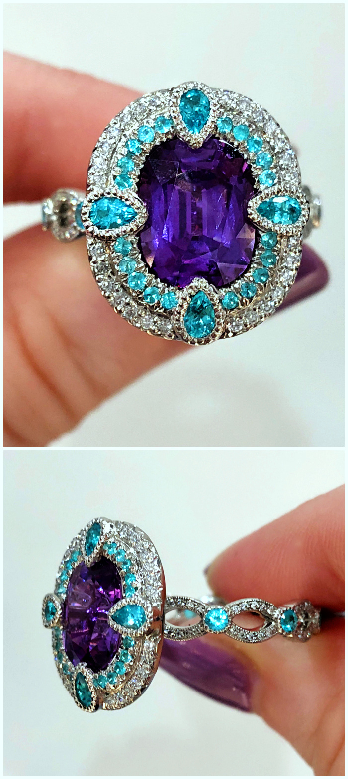 A purple sapphire and Paraiba tourmaline ring by Erica Courtney. This would be an incredible engagement ring.