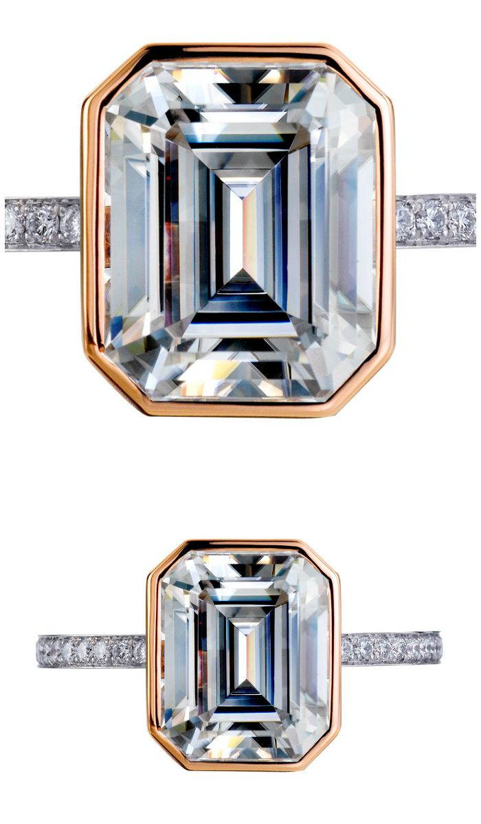A stunning platinum and rose gold engagement ring by Mark Patterson, with a wonderful emerald cut diamond.