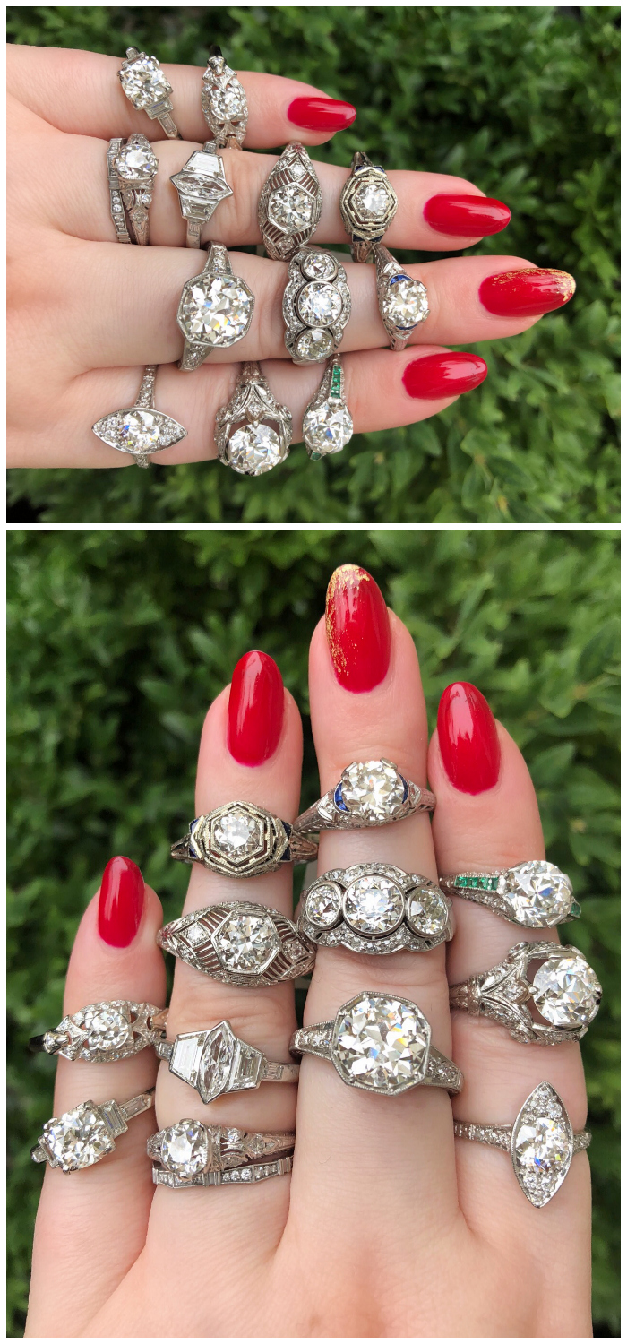 Crazy beautiful antique diamond rings from Wilson's Estate Jewelry!! Look at all those vintage and Art Deco engagement rings.
