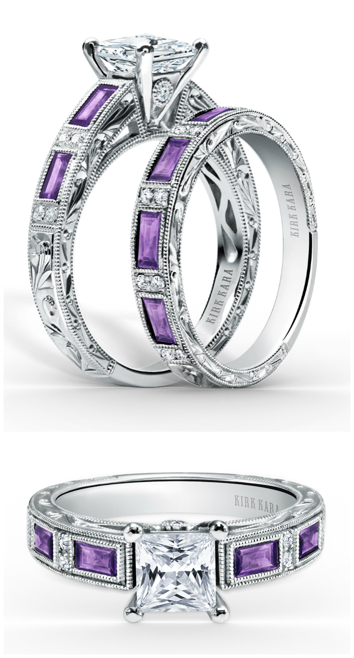 I love this amethyst and diamond wedding set by Kirk Kara! That engagement ring is stunning.