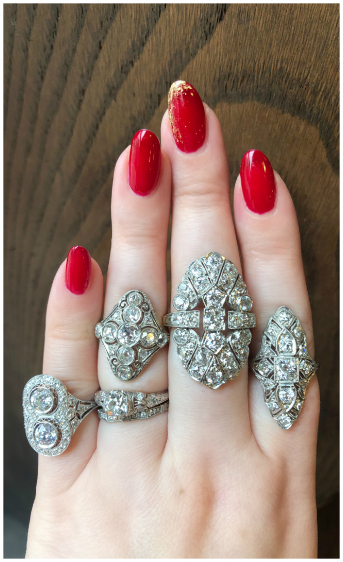 Incredible antique and vintage diamond rings from Wilson's Estate Jewelry!! I love that Art Deco style. .