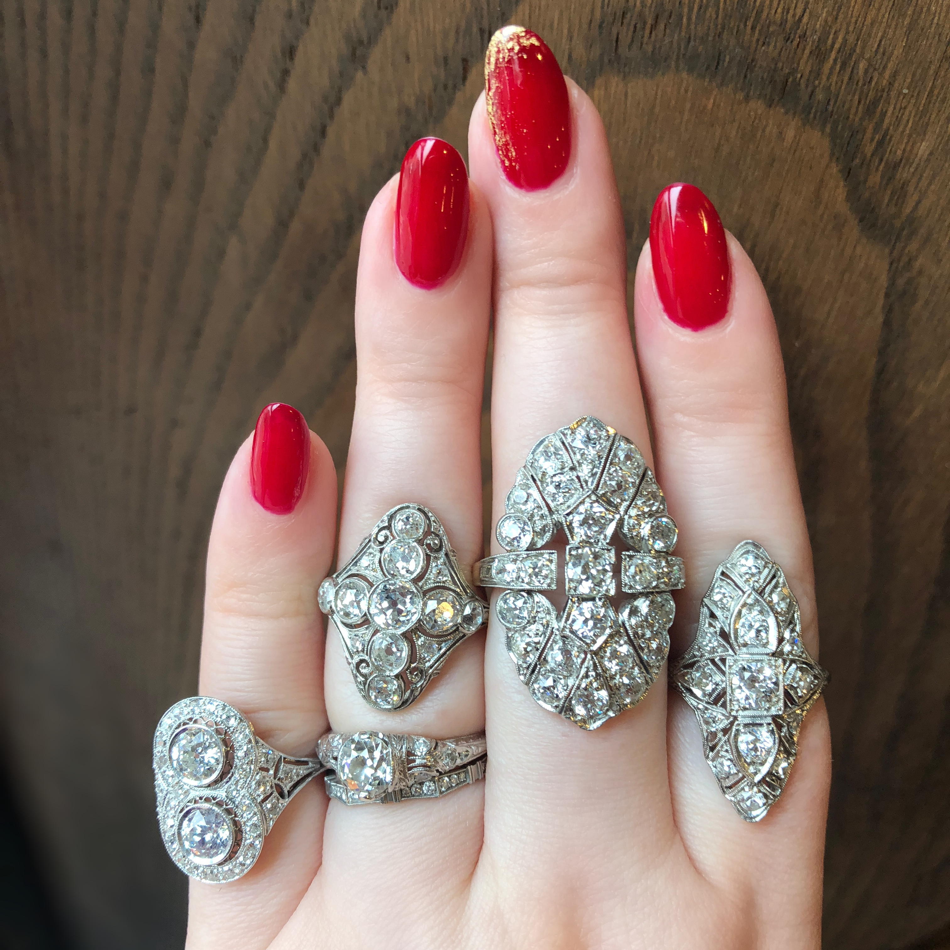 Incredible antique and vintage diamond rings from Wilson's Estate Jewelry!! I love that Art Deco style.